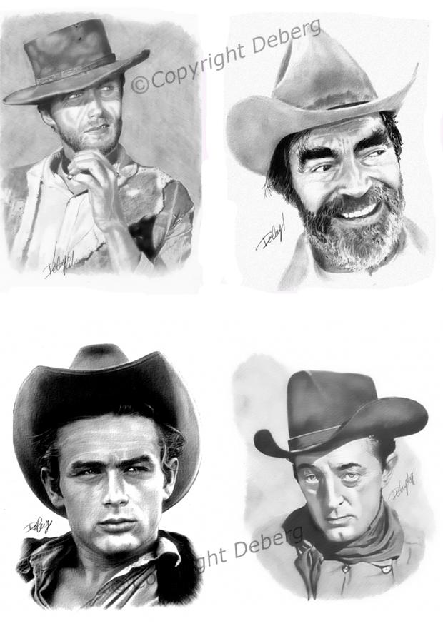 Robert Mitchum, James Dean, Jack Elam, Clint Eastwood by Deberg